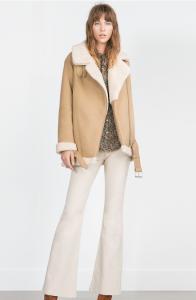 Manteau à revers laine moutonnée, Zara, 99,95€