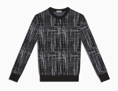 Pull jacquard noir et blanc - 1100 €