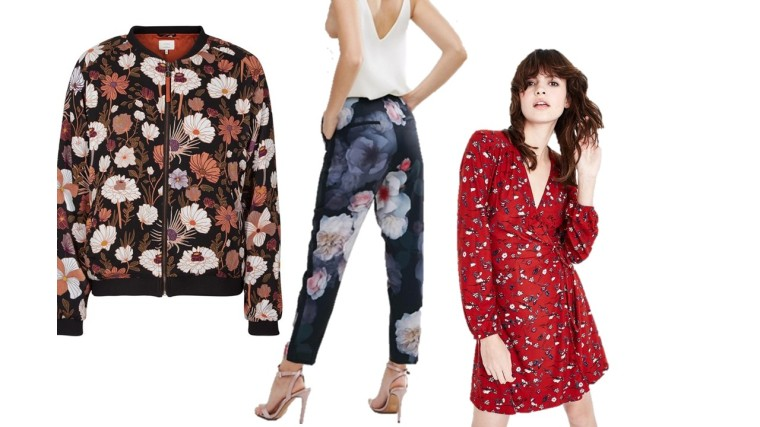 88f085194a54 Numph, Bombers imprimé floral, La Redoute 67,96€   Ted Baker Chelsea Print  Trouser, ASOS £139.00   Red Floral Pattern Wrap, Newlook 24,99€